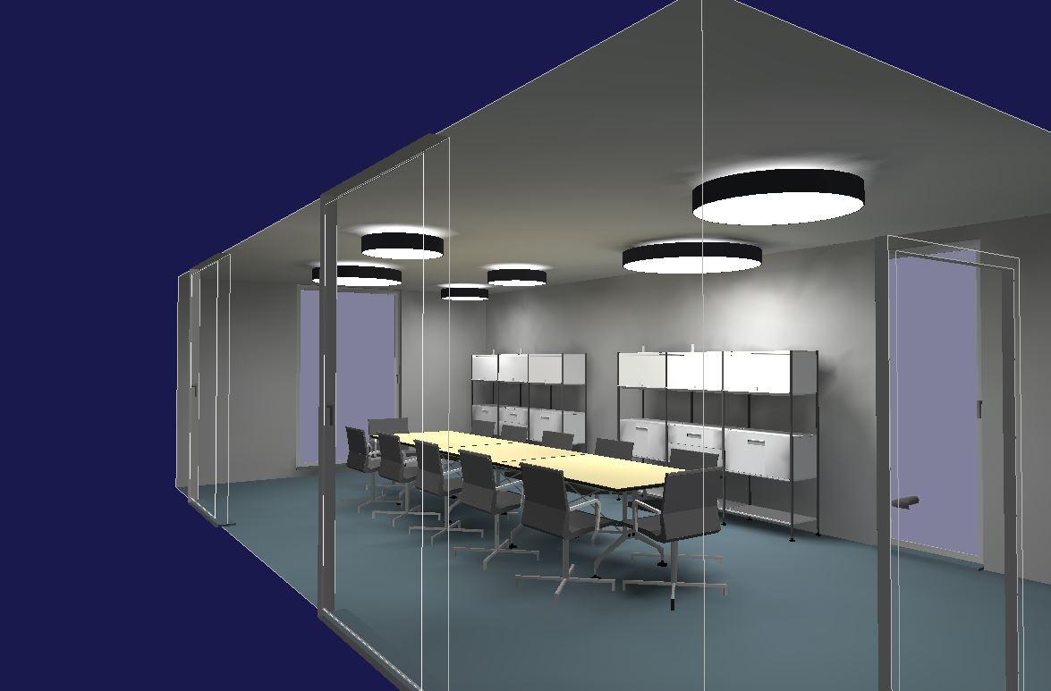 Muster-Lichtplanung für einen Besprechungsraum
