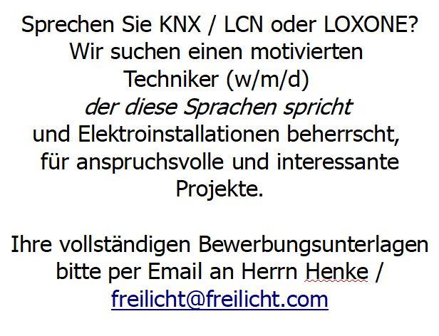 #job #knx #loxone #LCN #Elektriker #Stellenangebot #Techniker